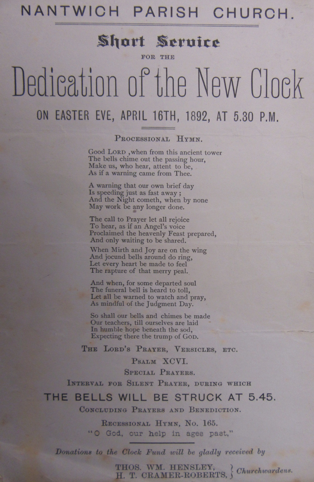 Nantwich Clock (1892) Service of Dedication Sheet
